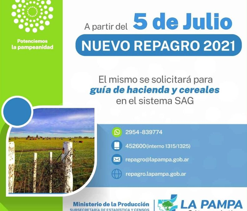 Comienza el 5 de julio la inscripción del REPAGRO 2021